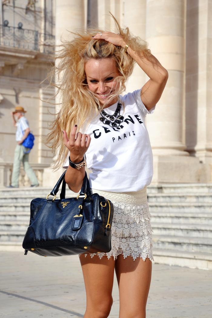 Sicily trip cosa fare in Sicilia, Cèline t-shir, maglia Cèline, lace skort outfit ideas Prada bag - It-girl by Eleonora Petrella