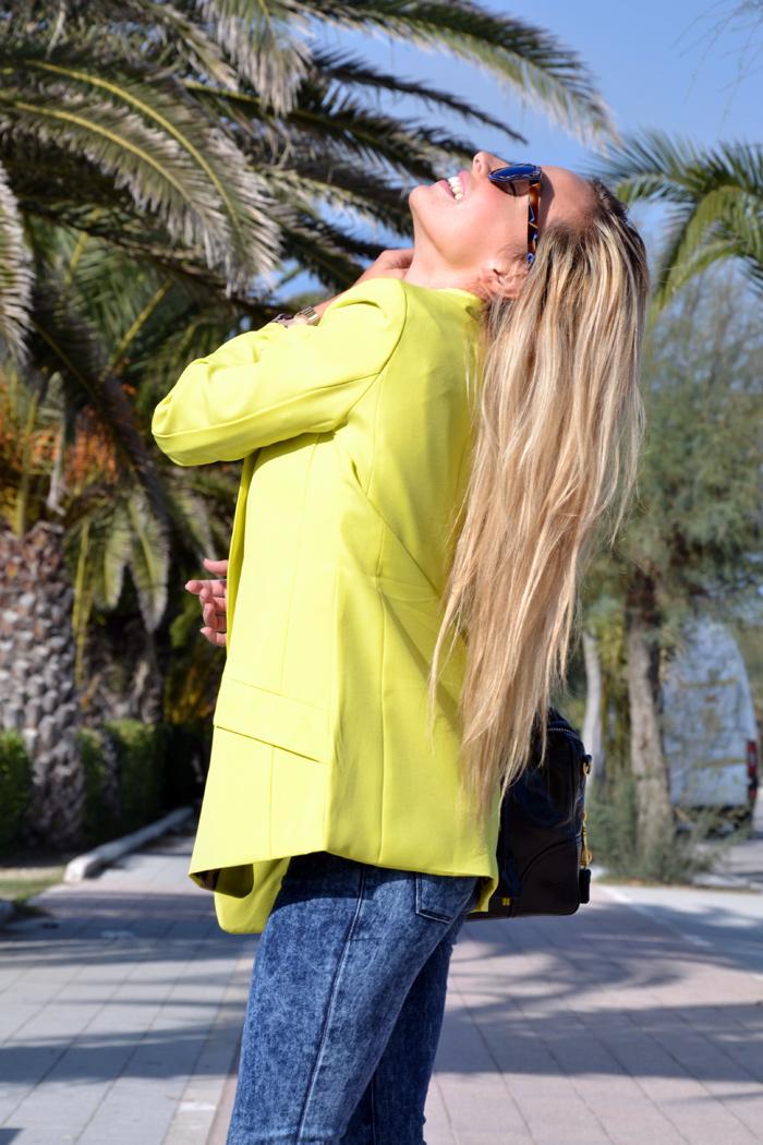 Yellow blazer and denim skinny jeans - Zara animalier leopard pumps and Prada bag - outfit fall 2013 italian fashion blogger It-Girl by Eleonora Petrella
