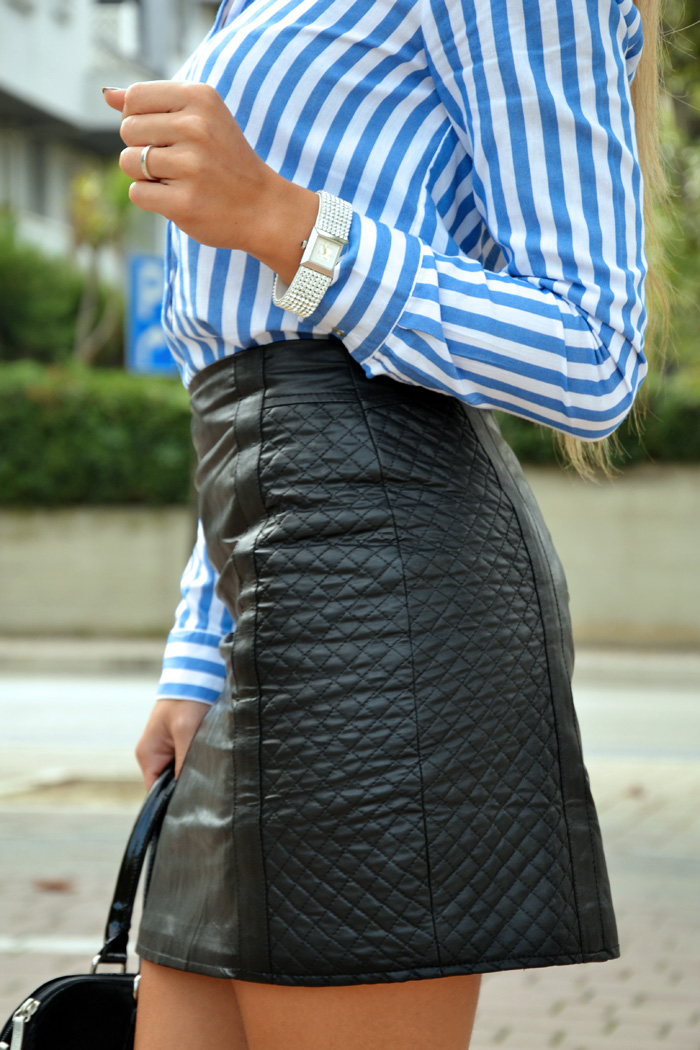 Leather skirt, striped Zara blouse and high heels pumps - outfit fall 2013 fashion blogger It-Girl by Eleonora Petrella