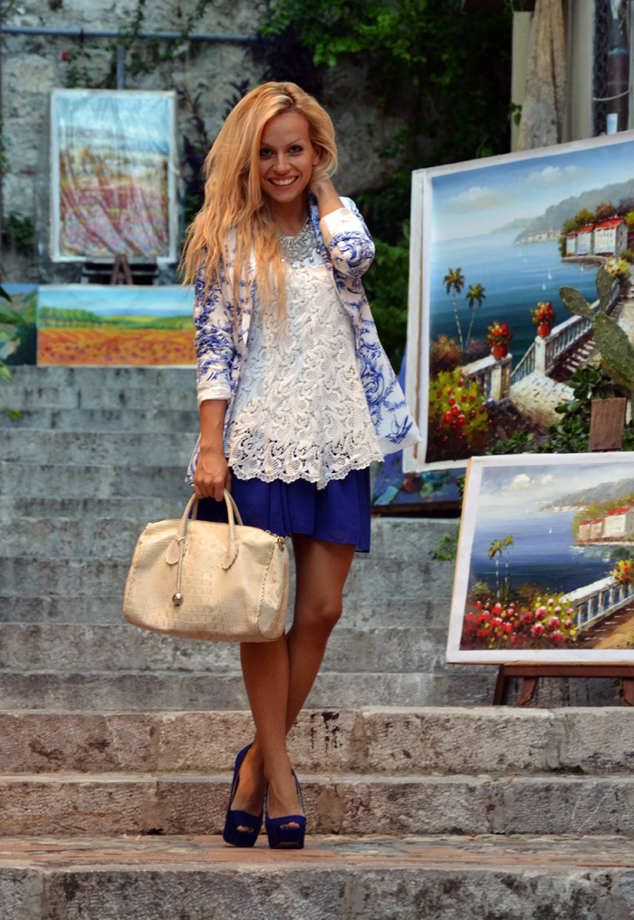 Romwe porcelain print blazer, skater skirt, Furla bag and Zara high heels – outfit Taormina fall 2012 fashion blogger It-Girl by Eleonora Petrella
