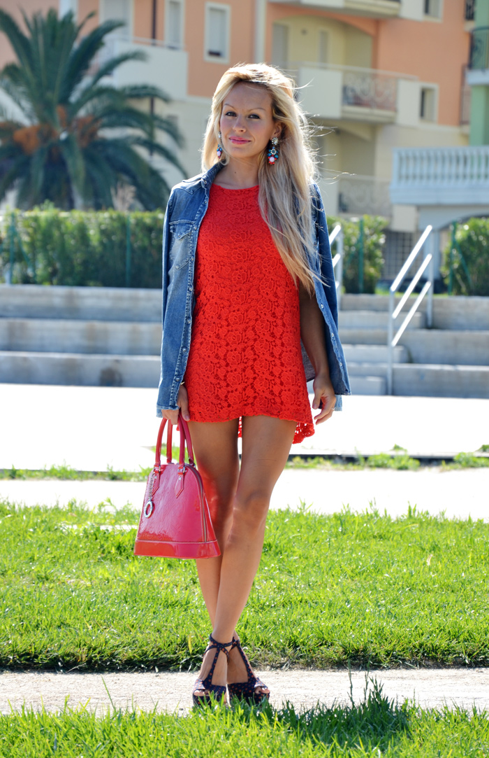 Zara red lace dress kiss, Gas Jeans shirt camicia - outfit italian fashion blogger It-Girl by Eleonora Petrella