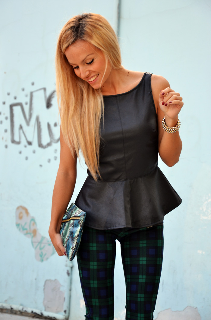 Tartan Zara pants Tartan trend outfit - leather peplum top - Asos shoes - look italian fashion blogger It-Girl by Eleonora Petrella