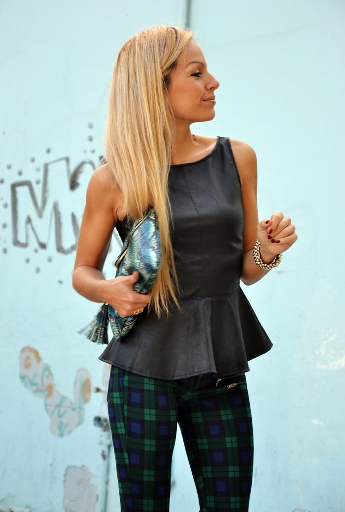 Tartan Zara pants Tartan trend outfit - leather peplum top - Asos shoes - look italian fashion blogger It-Girl by Eleonora Petrella
