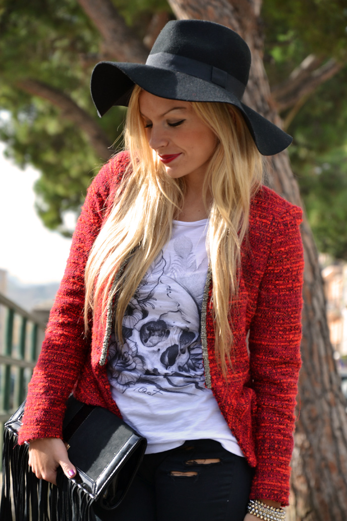 Ripped Jeans DIY tutorial, tract t-shirt, ankle boots fall winter 2013, H&M fedora hat, Elisabetta Franchi borse e pochette – outfit fashion blogger It-Girl by Eleonora Petrella