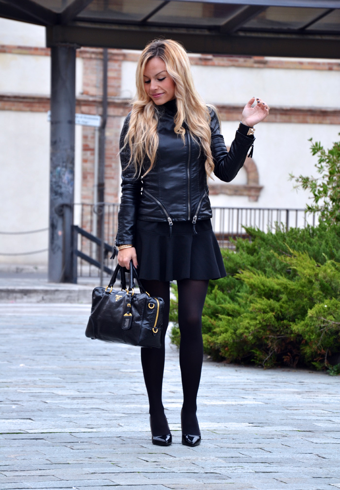 Leather jacket, skirt with trumpet hem, Zara pumps, Prada bag - outfit fall winter 2013 italian fashion blogger It-Girl by Eleonora Petrella