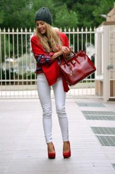 Tartan plaid print shirt, white pants, beanie fall winter 2013, Arcadiabags bolsas - outfit italian fashion blogger It-Girl by Eleonora Petrella
