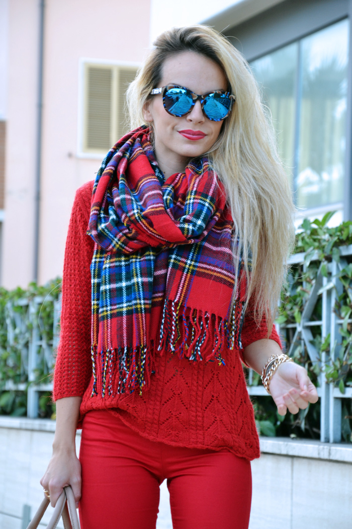 Tartan scarf plaid print, sciarpa scozzese - tartan trend fall winter 2013, red pants, cream Zara pumps - bauletto Elisabetta Franchi - outfit italian fashion blogger it girl by Eleonora Petrella