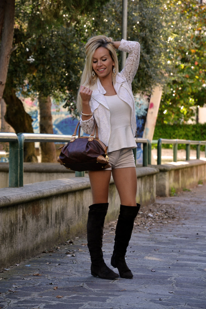 Over the knee boots outfit trend fall winter 2013 - chicwish lace jacket - stivali sopra il ginocchio bassi - italian fashion blogger It-Girl by Eleonora Petrella