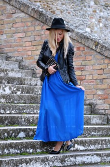Electric blue maxi dress - Zara H&M leather jacket - black fedora - outfit ideas fall 2013 italian fashion blogger It-Girl by Eleonora Petrella