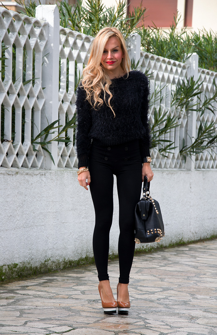 Imperfect fluffy black sweater