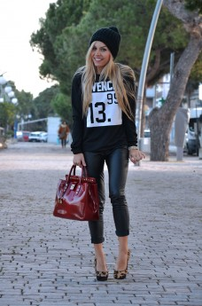 Romwe sweaters and sweatshirts, leather pumps, animalier pumps, Arcadia bags - outfit italian fashion blogger It-Girl by Eleonora Petrella