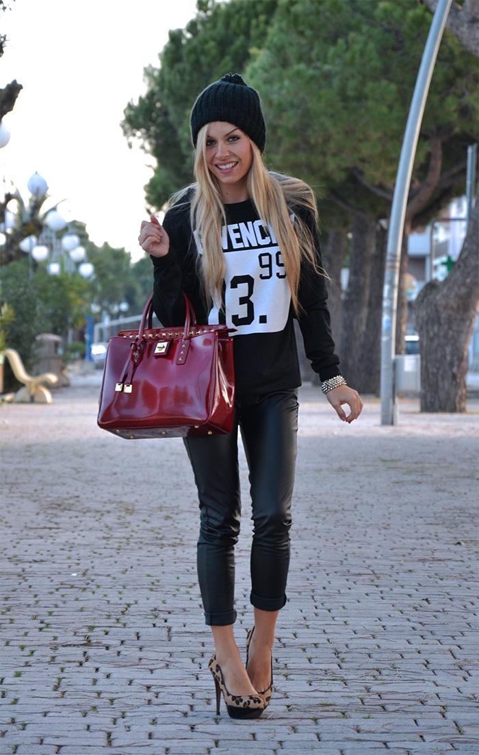 Romwe sweaters and sweatshirts, leather pumps, animalier pumps, Arcadia bags - outfit italian fashion blogger It-Girl by Eleonora Petrella