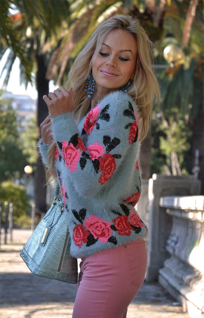Romwe fluffy sweater, pink pants, Menbur shoes, Arcadia Bags bolsas - outfit italian fashion blogger It-Girl by Eleonora Petrella fall winter 2013/14