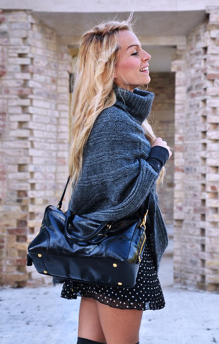 Over the knee socks, knit cape, polka dots pleated skirt, Zara pumps, Prada bag - outfit winter 2014 Italian fashion blogger It-Girl by Eleonora Petrella