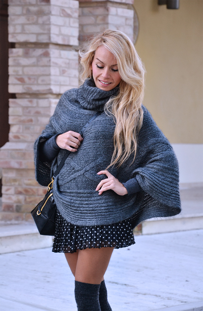Over the knee socks, knit cape, polka dots pleated skirt, Zara pumps, Prada bag - outfit winter 2014 Italian fashion blogger It-Girl by Eleonora Petrella