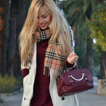 White trench and Burberry scarf