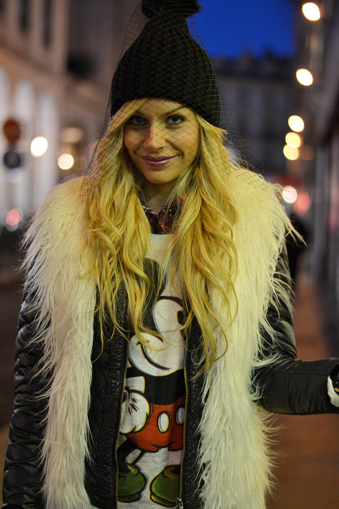 Liquid leggings,veiled beanies, cuffia con veletta trendi inverno 2014 - Torino by night, italian fashion blogger It-girl by Eleonora Petrella