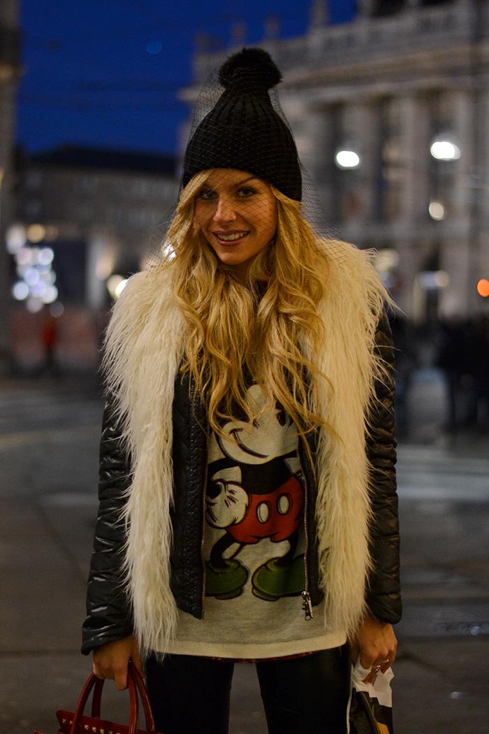 Liquid leggings,veiled beanies, cuffia con veletta trendi inverno 2014 - Torino by night, italian fashion blogger It-girl by Eleonora Petrella