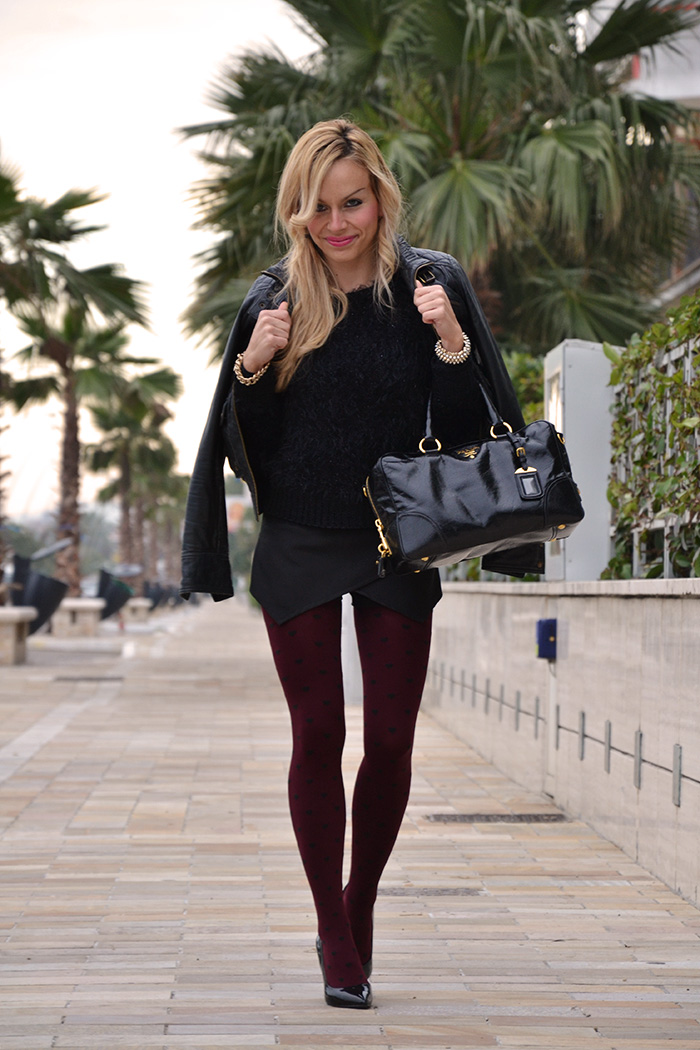Zara Black skort nero, Imperfect Belen fluffy sweater, bauletto Prada bags – outfit Italian fashion blogger winter 2013 It-Girl by Eleonora Petrella