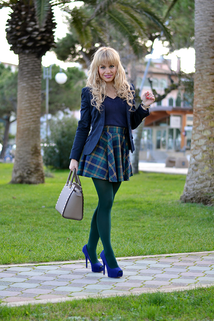 Plaid check tartan skirt, Zara blazer, Chicwish skirt, Selma bag, Biagetti Bologna – Italian fashion blogger It-Girl by Eleonora Petrella