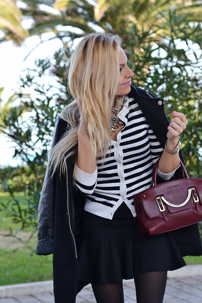 Choies Skirt with trumpet hem - Black coat winter 2014 - borse Coccinelle inverno 2014 - outfit burgundy trend Italian fashion blogger It-Girl by Eleonora Petrella