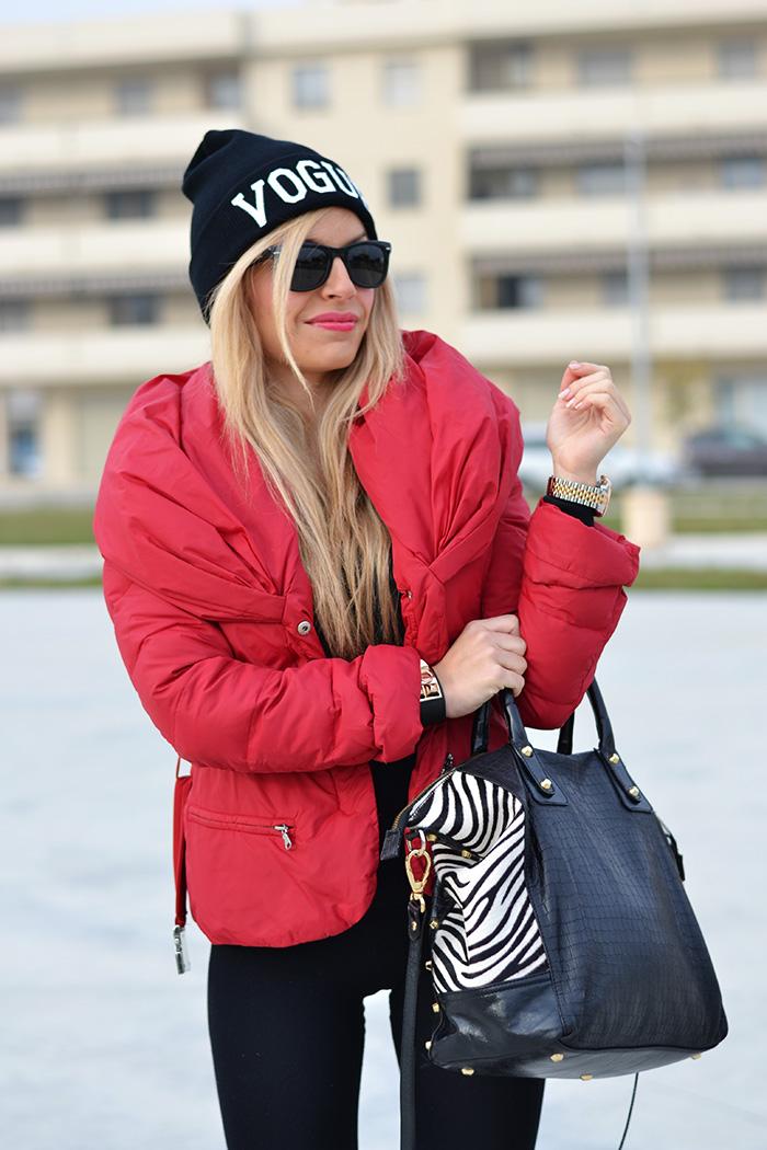 Pinko giubbotto inverno 2014, Calzedonia push-up leggings, stivali pioggia Hunter boots, sunglasses Rayban occhiali – outfit sporty chic italian fashion blogger It-Girl by Eleonora Petrella