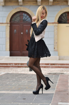 Vessts lace party dress, Zara high heels, Sheinside jacket – outfit winter 2014 italian fashion blogger It-Girl by Eleonora Petrella