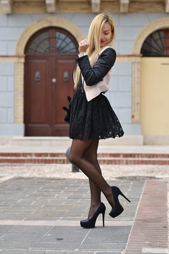 Vessts lace party dress, Zara high heels, Sheinside jacket – outfit winter 2014 italian fashion blogger It-Girl by Eleonora Petrella