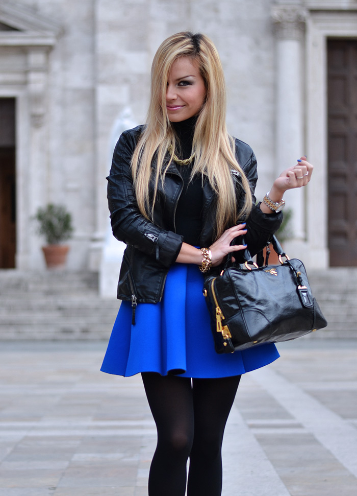 Electric blue neoprene skirt trend 2014, outfit look italian fashion blogger It-Girl by Eleonora Petrella
