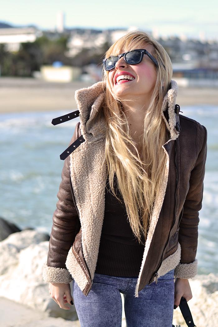 Timberland boots, sheepskin jacket, jeggings, Rayban Wayfarer – outfit comfy chic Italian fashion blogger It-Girl by Eleonora Petrella inverno 2014