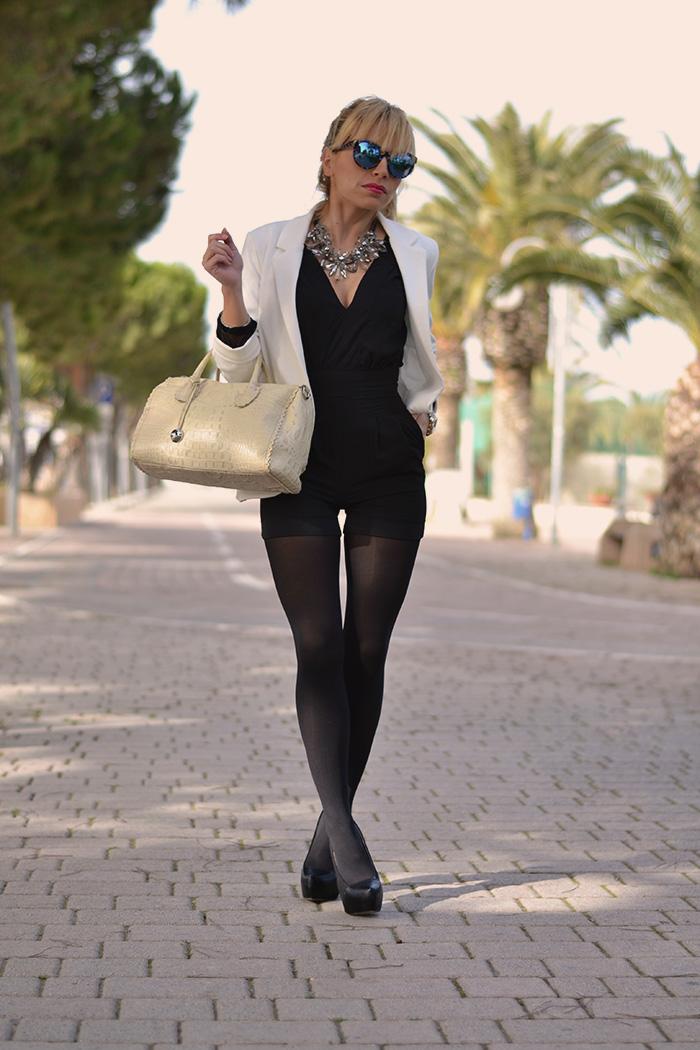 Romwe chiffon elegant playsuit – party jumpsuit – Borse Furla bags – Italian fashion blogger It-Girl by Eleonora Petrella