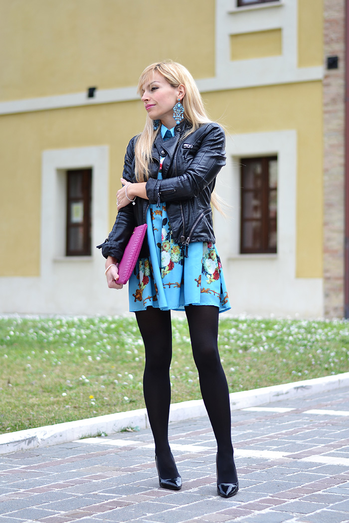 Gigi New York clutch, romwe floral dress, outfit leather jacket spring 2014 – Italian fashion blogger It-Girl by Eleonora Petrella