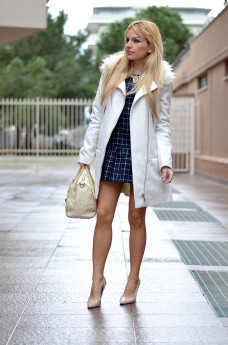Romwe dress, H&M jackets and coats, Furla bauletto borse Candy bag, Zara heels – outfit elegant chic Italian fashion blogger It-Girl by Eleonora Petrella