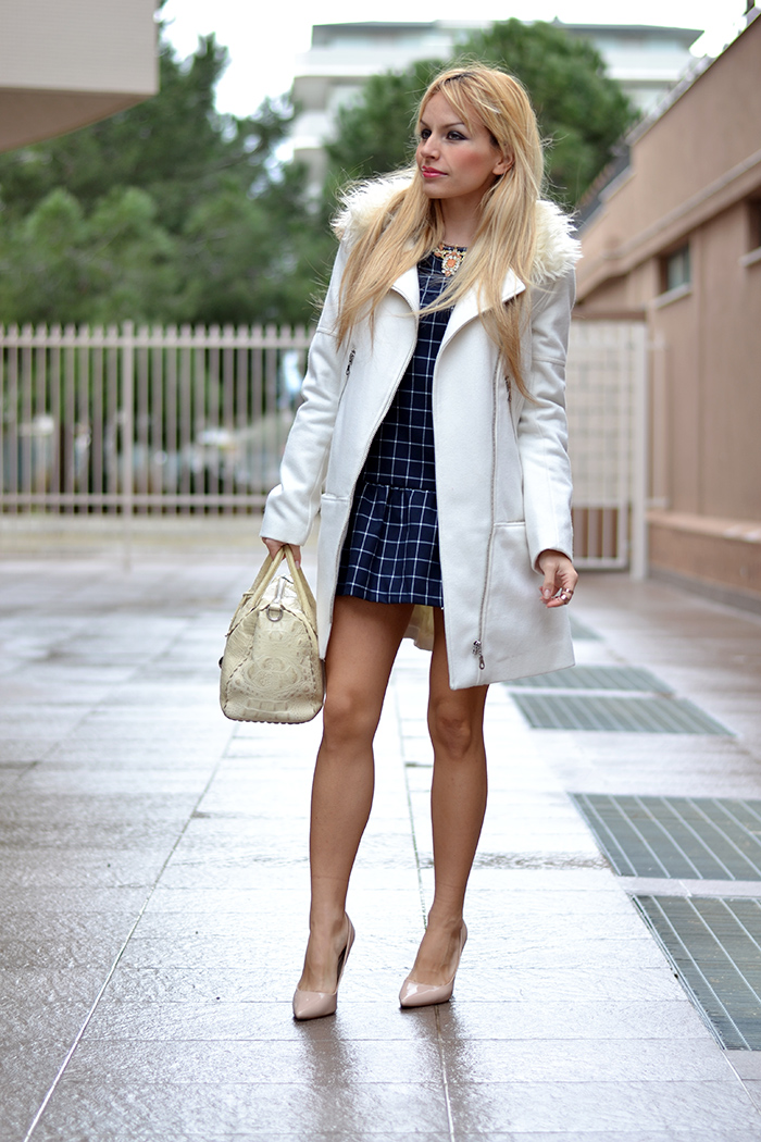 Romwe dress, H&M jackets and coats, Furla bauletto borse Candy bag, Zara heels – outfit elegant chic Italian fashion blogger It-Girl by Eleonora Petrella