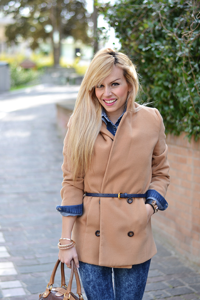 Camel coat, Lovely Pepa Style inspiration,cappotto cammello, total denim look, Etro bags, borse bauletti Etro, Italian fashion blogger It-Girl by Eleonora Petrella