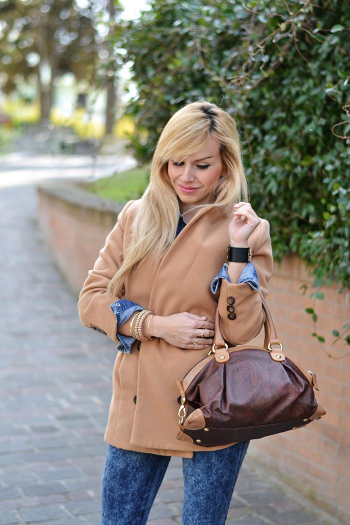 Camel coat, Lovely Pepa Style inspiration,cappotto cammello, total denim look, Etro bags, borse bauletti Etro, Italian fashion blogger It-Girl by Eleonora Petrella