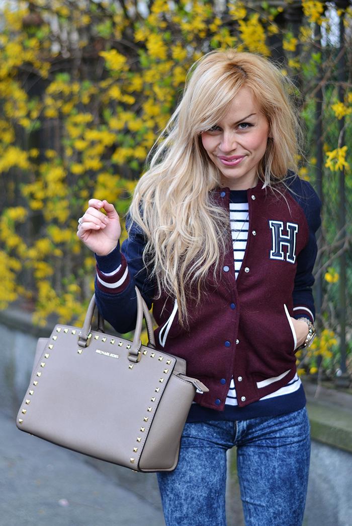 Bershka varsity jacket, H&M skinny jeans, Michael Kors Selma bag, sporty chic look It-Girl by Eleonora Petrella spring 2014