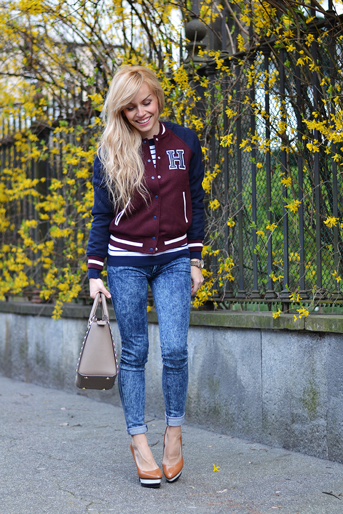 Bershka varsity jacket, H&M skinny jeans, Michael Kors Selma bag, sporty chic look It-Girl by Eleonora Petrella spring 2014
