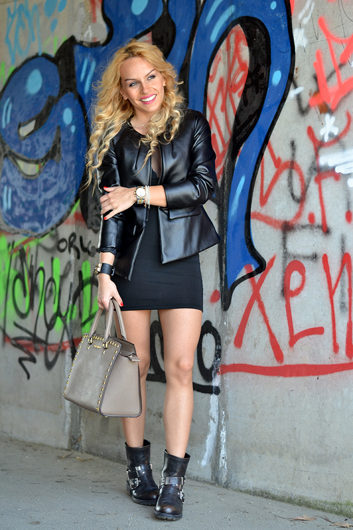 Choies Little Black Dress, sexy LBD, anfibi Cult Shoes biker boots, Michael Kors Selma bag – outfit rock fashion blogger Torino It-Girl by Eleonora Petrella