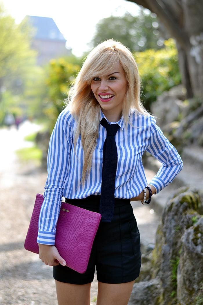 braccialetti LOL JEWELS fashion blogger, sandali tacchi Guess, outfit con cravatta, Bermuda Zara camicie, look Italian fashion blogger Eleonora Petrella Torino