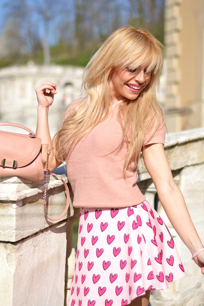 Gonna rosa a cuori Romwe spedizioni è sicuro, Zara t-shirt, Zalando Steve Madden heels, see by Chloè bags, torino fashion blogger It-Girl by Eleonora Petrella