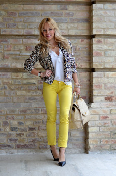 Vessts leopard bomber jacket, Free Soul yellow pants and Braccialini bags SS 2014 – Italian fashion blogger It-Girl by Eleonora Petrella, idee look primavera 2014