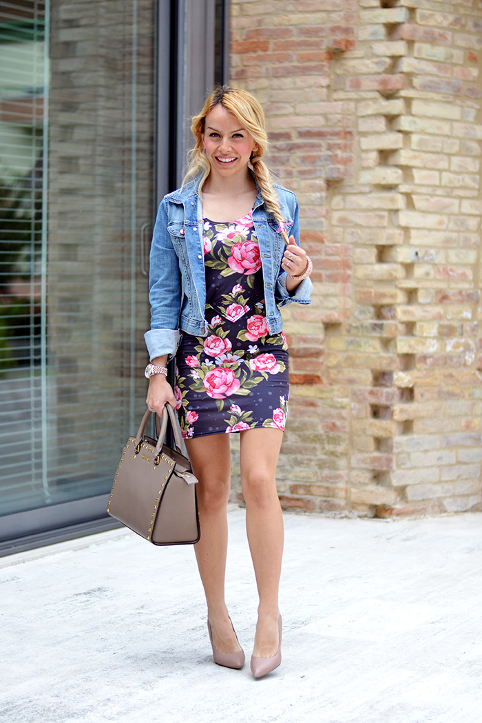 Mr Gugu shop Italia, cut out dress, floral dress, H&M denim jacket, outfit con giacca di jeans come indossare, look Italian fashion blogger It-Girl by Eleonora Petrella
