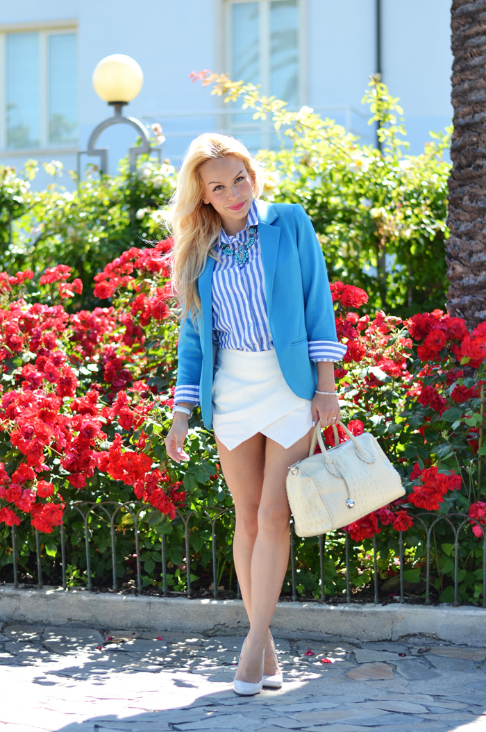 Zara white skort outfit ideas, Didofà orologi, scarpe tacchi Zara estate 2014, outfit italian fashion blogger It-girl by Eleonora Petrella