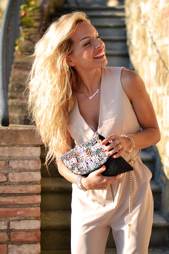 Relais Il Canalicchio country house centro benessere Umbria, Roberta Biagi tute eleganti, Ottaviani Bijoux pochette gioiello - Outfit italian fashion blogger It-Girl by Eleonora Petrella