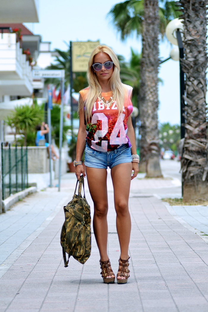 Roimer, canotte basket traforate, shorts jeans, zeppe estate 2014, scarpe Aldo, fashion blogger italiane It-Girl by Eleonora Petrella