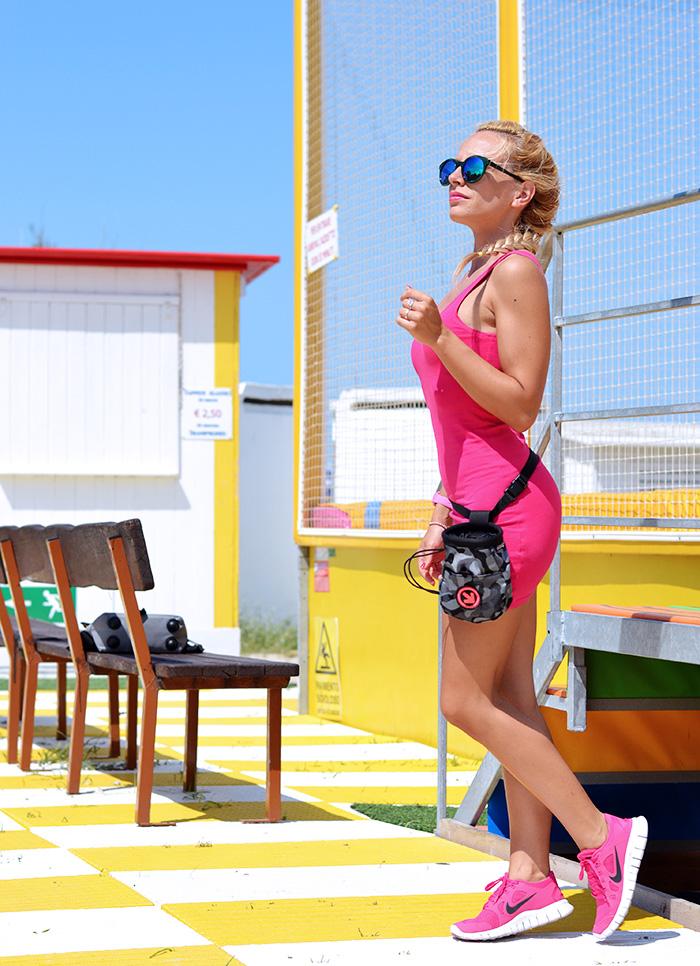 Iaco Tortoreto cazzarulo, pink dress, Nike Free Run pink, sneakers corsa running rosa Nike – outfit It-Girl by Eleonora Petrella