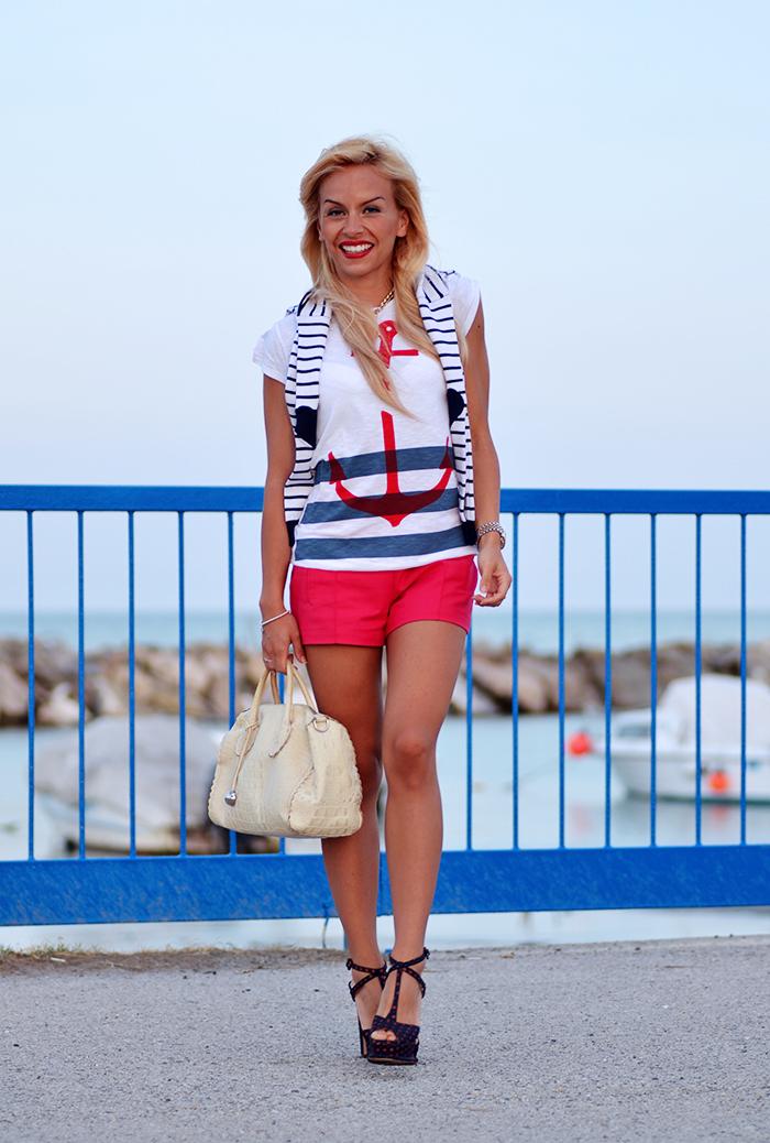 ancora t-shirt, Roimer, navy style, anchor tattoo, Zara shoes – outfit summer 2014 italian fashion blogger It-Girl by Eleonora Petrella