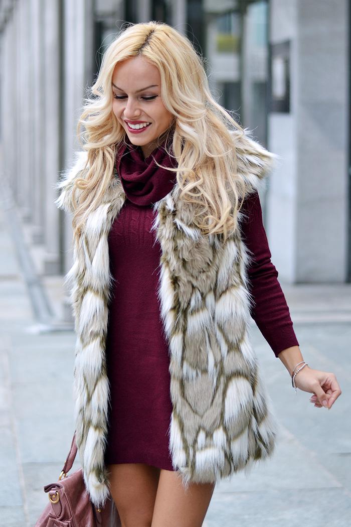 Zara faux fur vest coat, sangria Pantone, burgundy dress, colori autunno inverno 2014-2015, Miu Miu bags, borse rosa Miu Miu – It-Gir by Eleonora Petrella