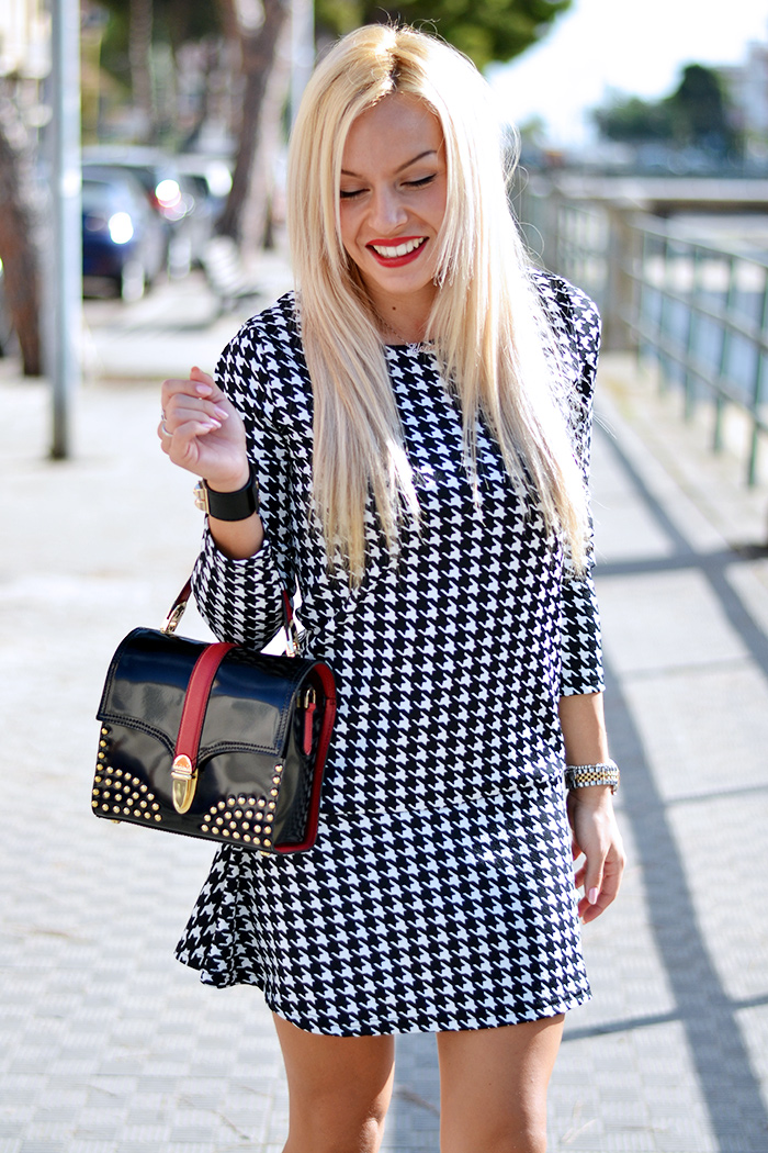 Arcadia bags bolsas, vestito pied de poule, houndstooth dresses trends fall winter 2014, black Zara pumps heels – outfit autumn 2014 italian fashion blogger It-Girl by Eleonora Petrella